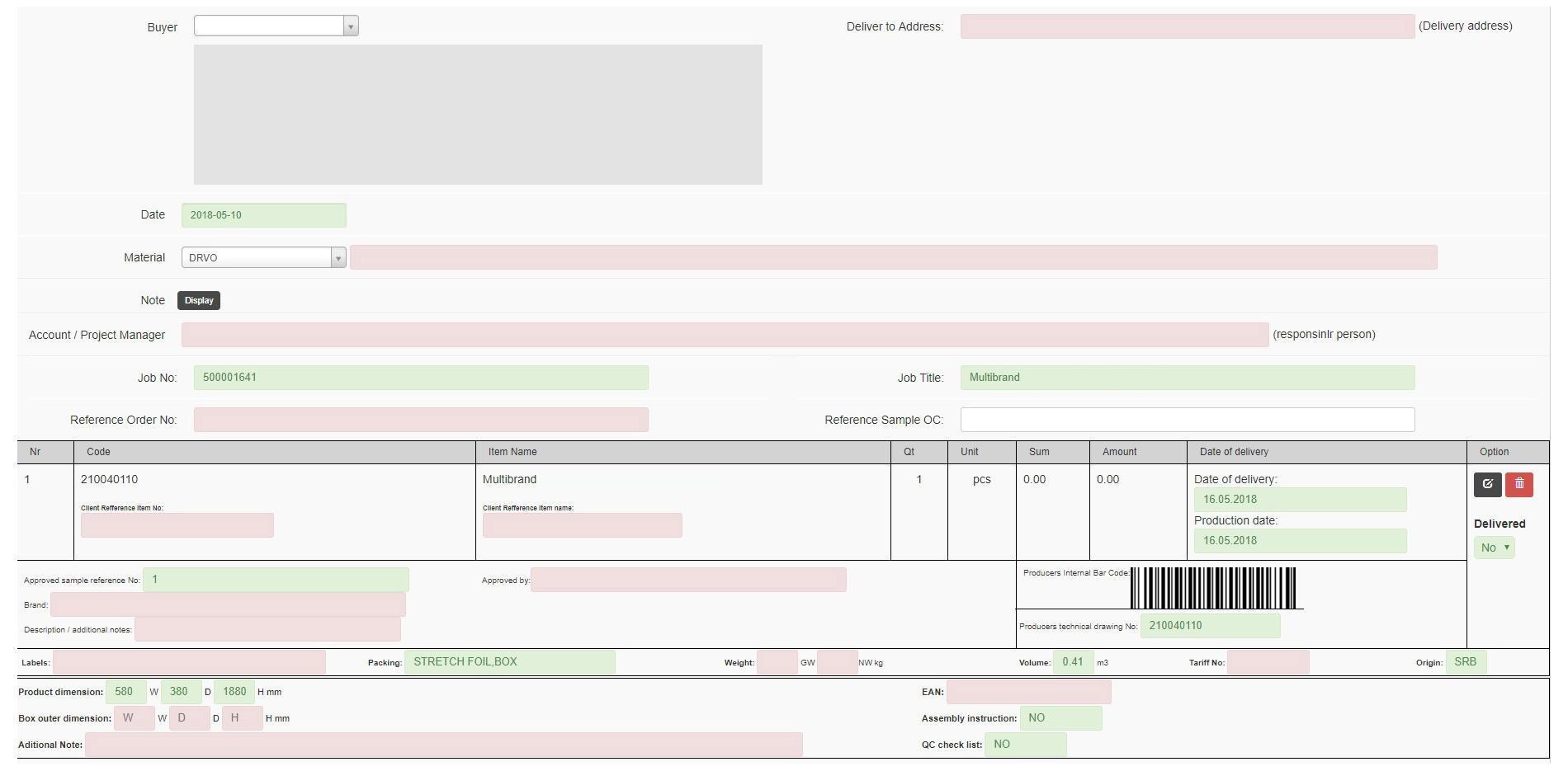 Narudžba (order confirmation)